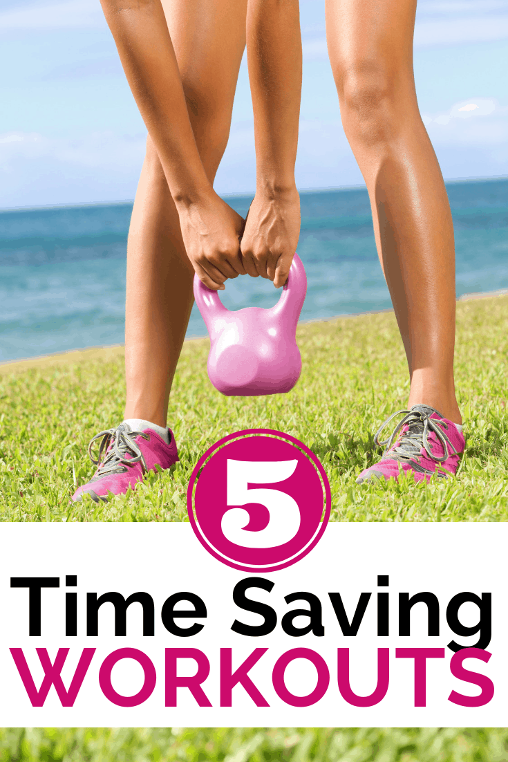 a women picking up a kettlebell for a time saving workout