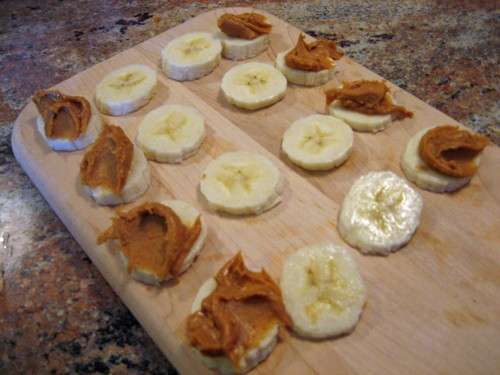 peanut butter on banana