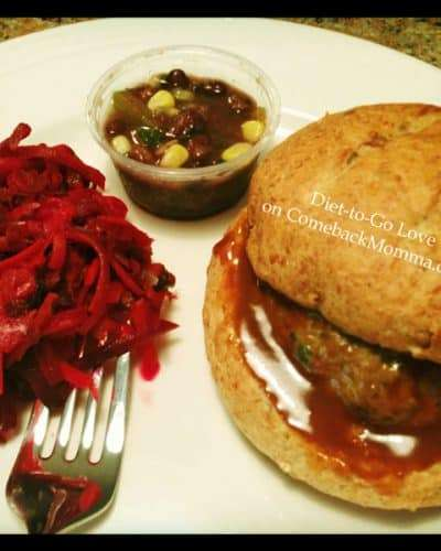 Diet-to-Go Szechuan Turkey Burger, Beet & Carrot Salad, Bean Salad