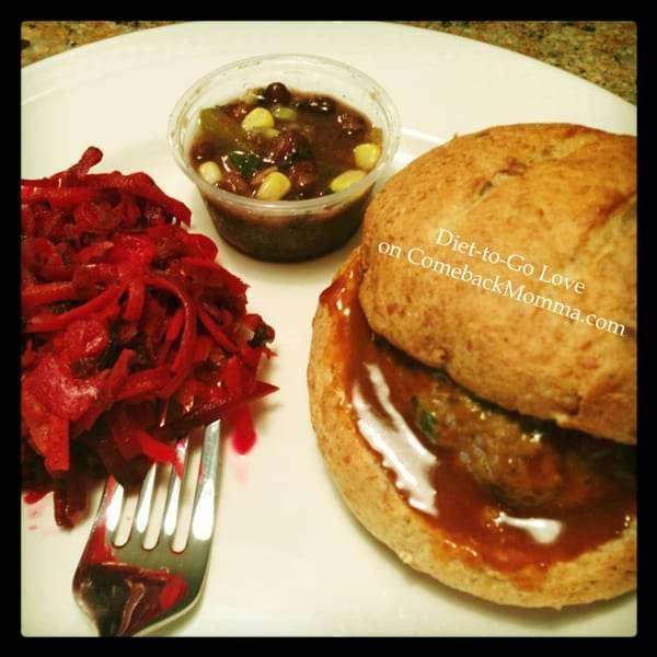 Diet-to-Go Szechuan Turkey Burger, Beet & Carrot Salad, Bean Salad