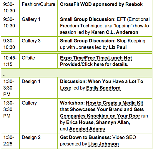 Fitbloggin Social Media Conference schedule
