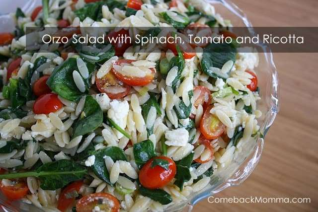 Healthy Recipe: Orzo Salad with Spinach, Tomato and Ricotta