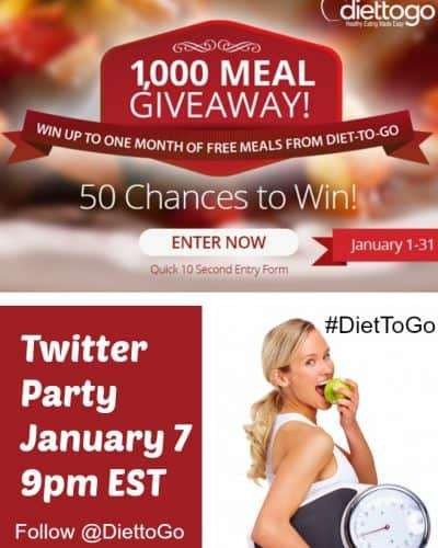 diet to go 1,000 Meal Giveaway Sweepstakes and Twitter Party