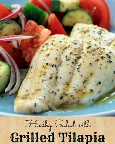 healthy salad with grilled tilapia