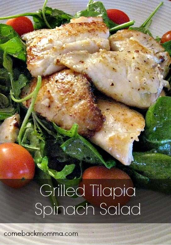 healthy recipe grilled tilapia spinach salad comeback momma