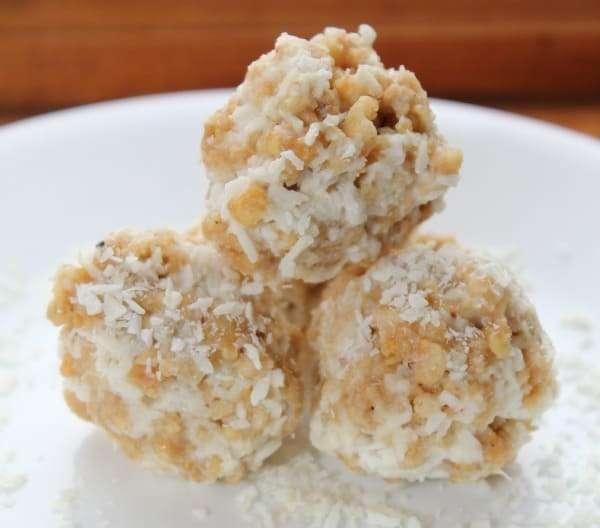 gluten free coconut white chocolate macadamia protein balls
