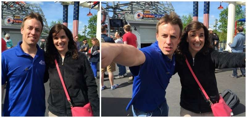 meeting storm chaser Reed Timmer at grand opening of Six Flags New England Wicked Cyclone