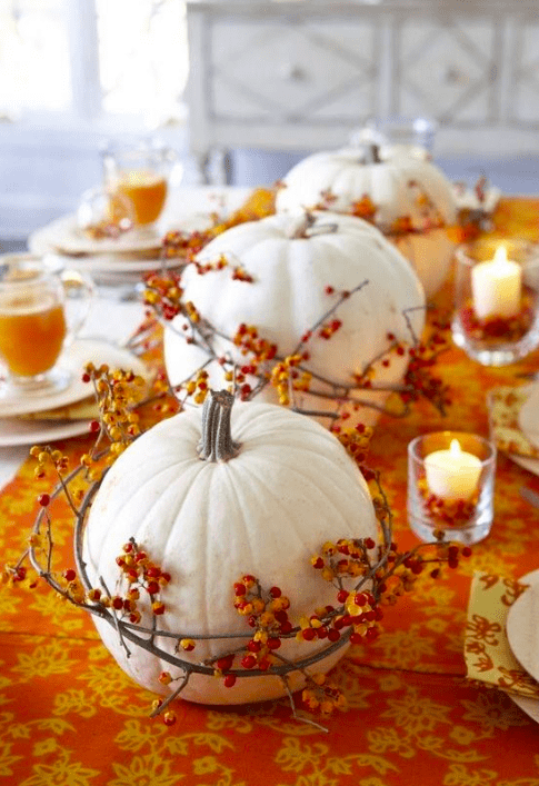 Ghost pumpkins surrounded by Bittersweet by LynnSusan Walters