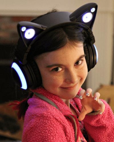 cat ear headphones from Brookstone