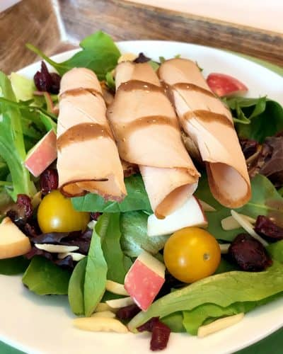 I love the tastes of cranberry, apple and almond featured in this Maple Honey Turkey Salad