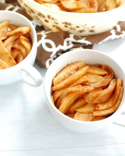 Healthy baked cinnamon apples in a mug