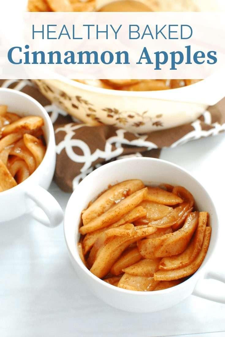 Healthy baked cinnamon apples in two mugs