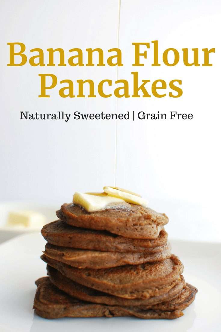 A stack of banana flour pancakes topped with butter