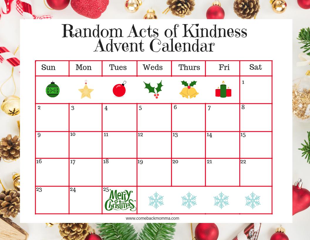 Blank Random Acts of Christmas Kindness Advent Calendar