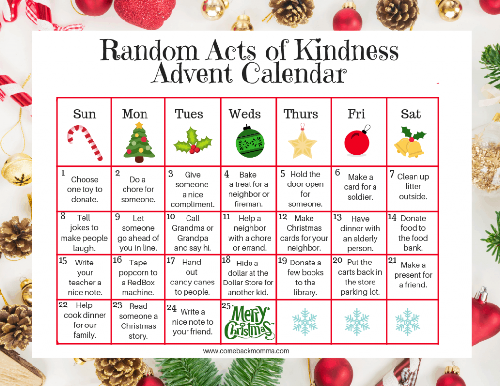 photograph regarding Printable Christmas Calendar identify Random Functions of Xmas Kindness Introduction Calendar Comeback