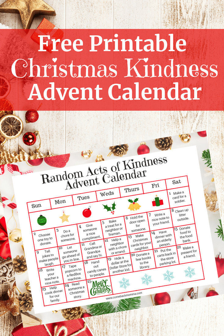 Random Acts Of Christmas Kindness Advent Calendar Comeback Momma