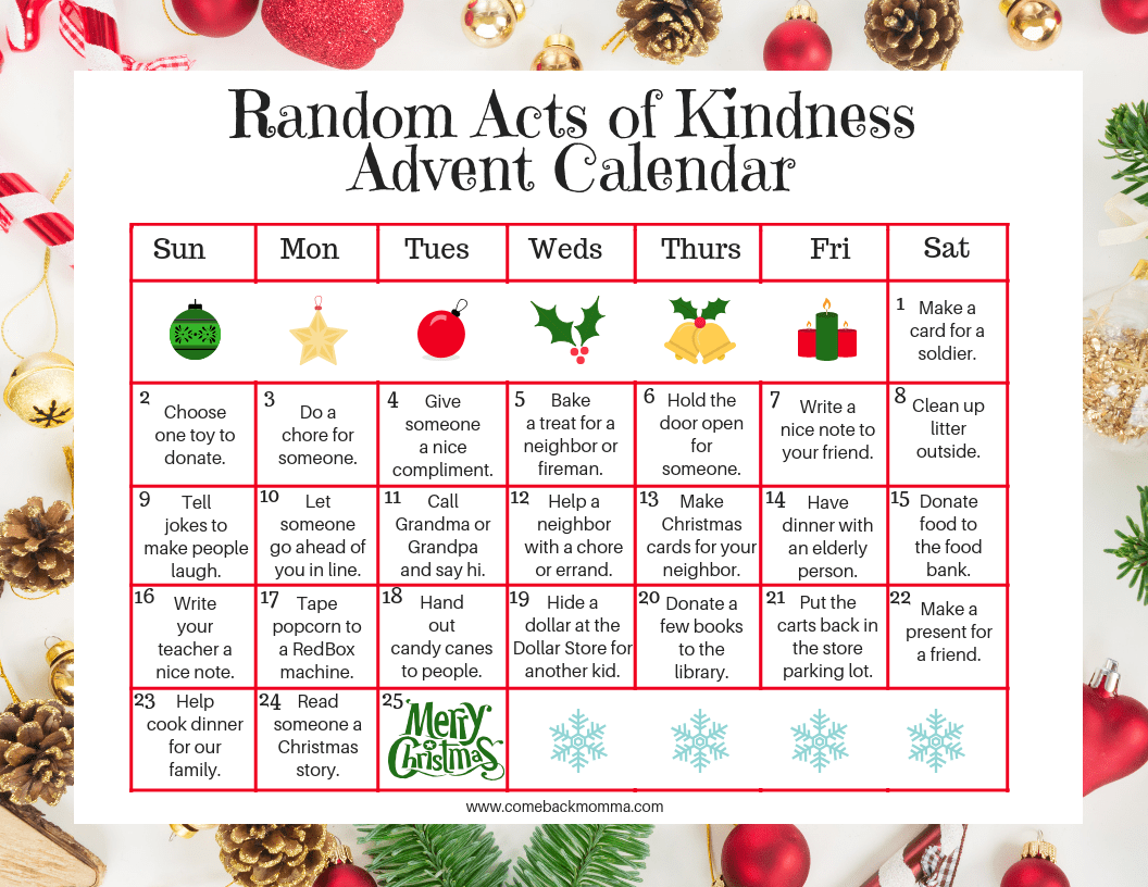 Random Acts of Christmas Kindness Advent Calendar | Comeback Momma