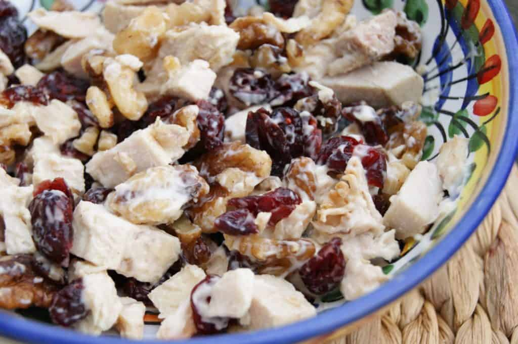 turkey cranberry salad in bowl