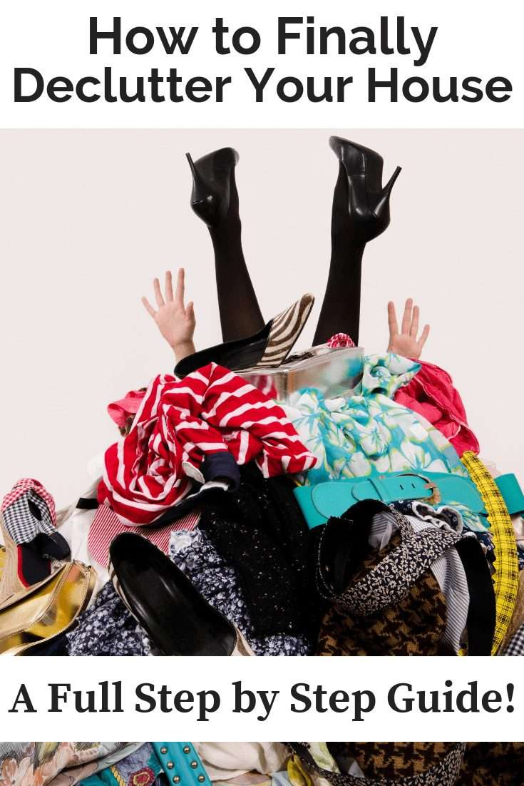 A woman in a pile of clothes with a text overlay about decluttering your house