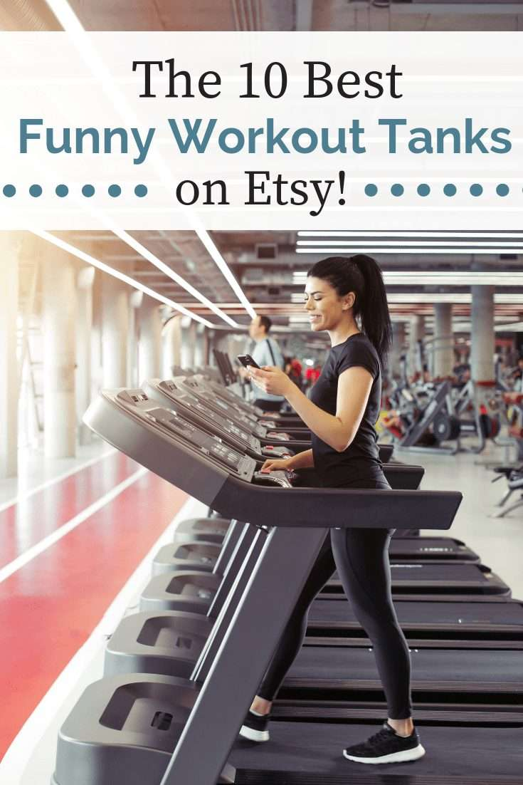 Woman on a traedmill with a text overlay about funny workout tanks