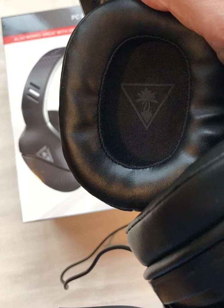 close up of headset foam