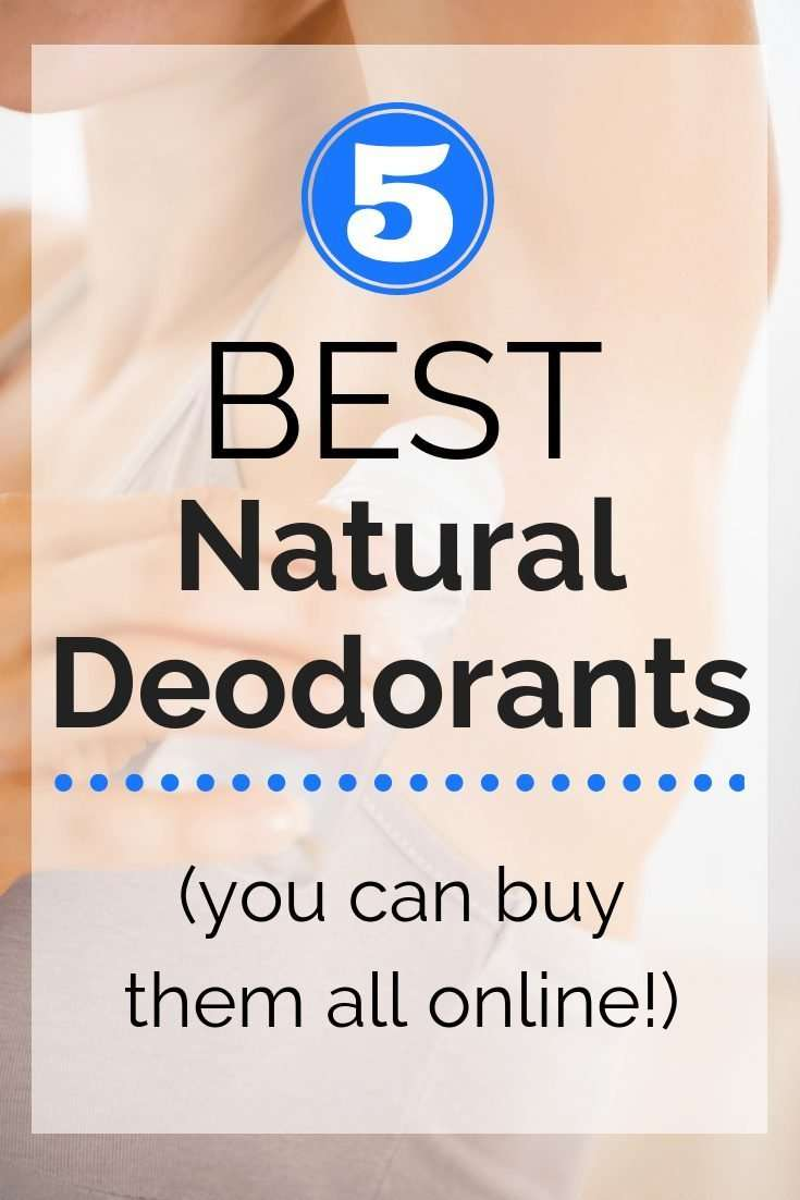 A woman putting on deodorant with a text overlay about natural deodorants