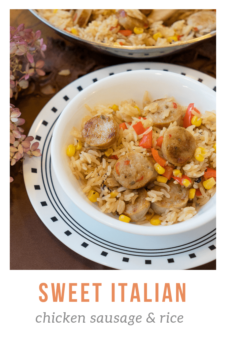 chicken sausage and rice in bowl