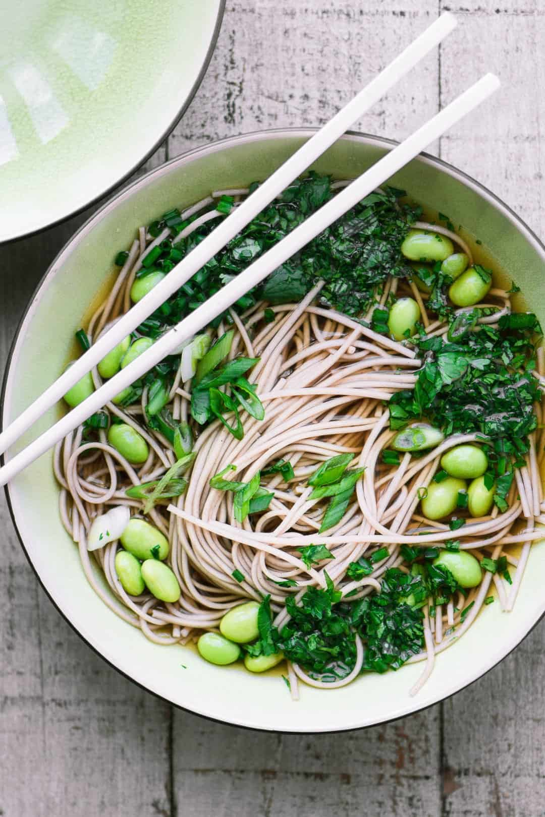 Bone Broth Noodle Bowl with Herbs