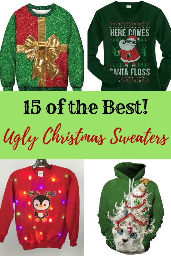 A collage of the Ugliest Christmas sweaters