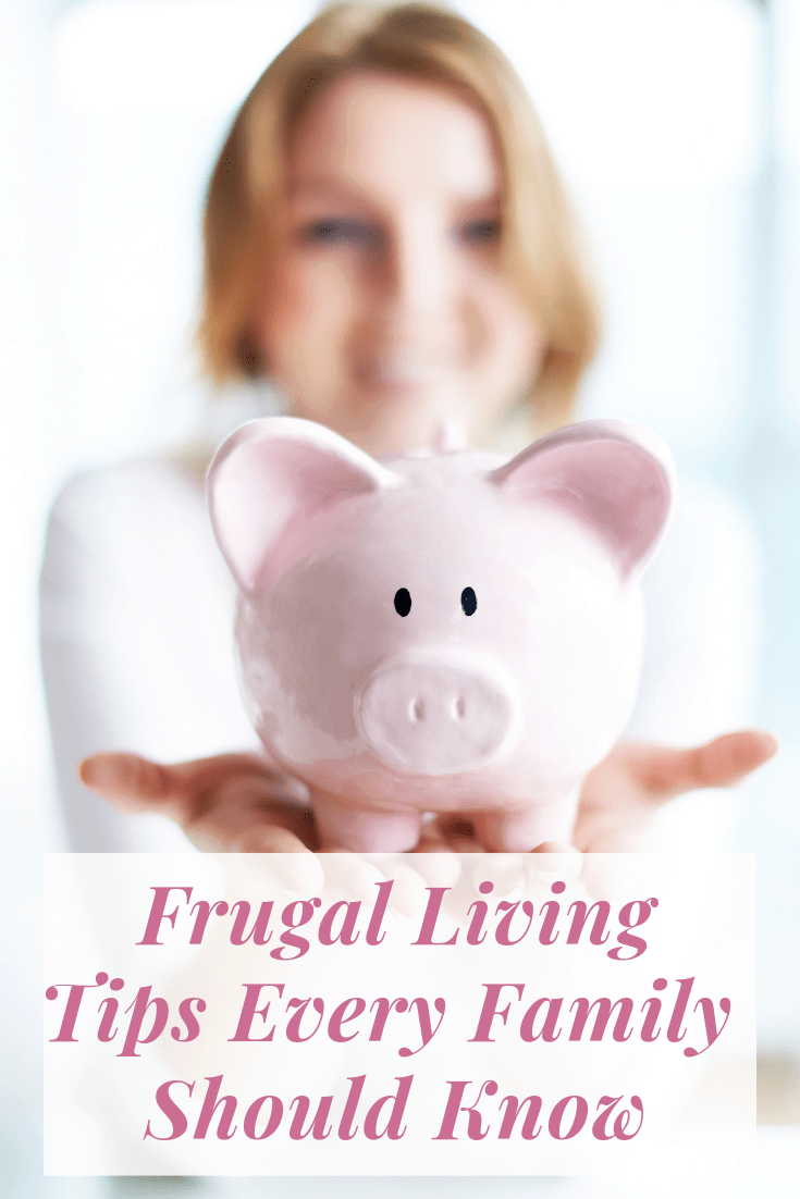 A woman with a piggy bank with a text overlay about frugal living tips