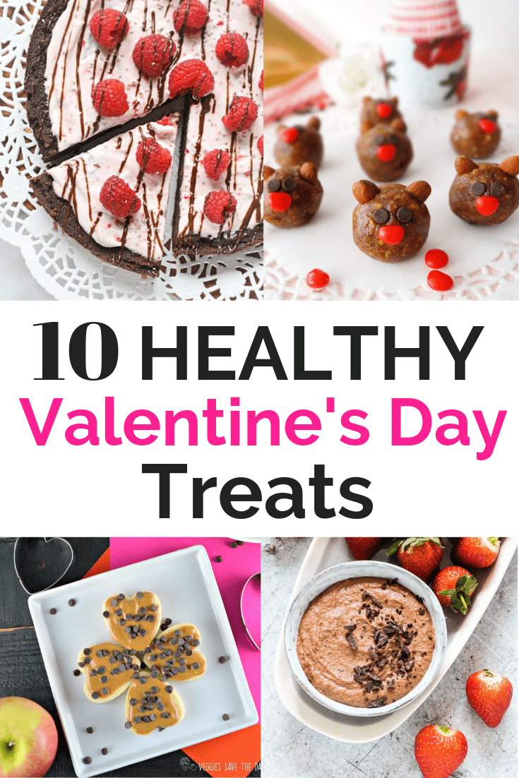 Collage image of healthy valentines treats