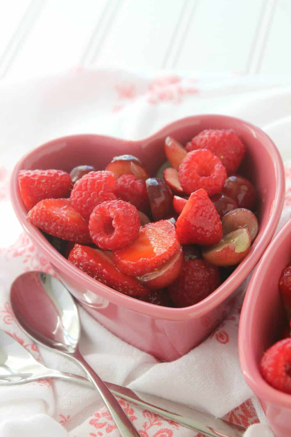 Sweetheart fruit salad for a healthy valentines dessert