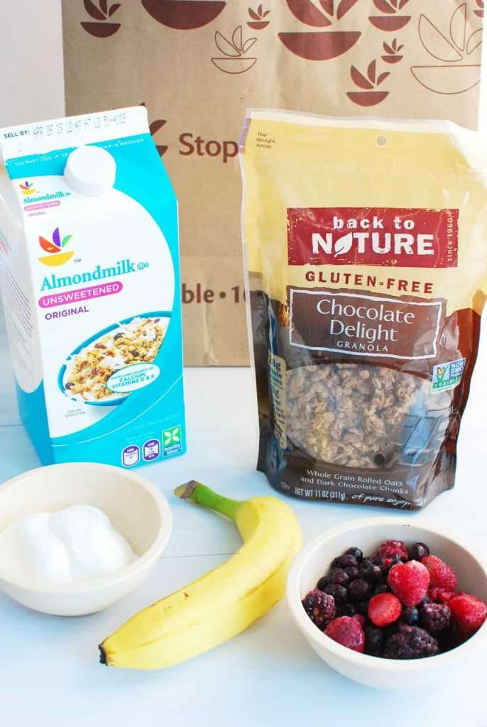 chocolate granola banana berry smoothie ingredients