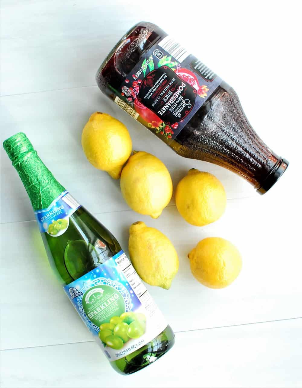 Ingredients for sparkling pomegranate lemonade