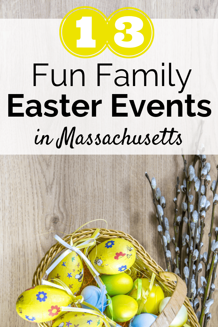 A basket of Easter eggs with a text overlay about Easter events in Massachusetts