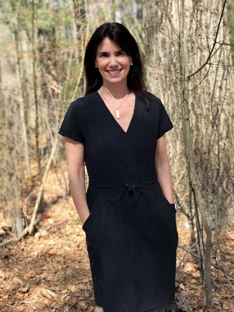woman in a black summer dress from REI