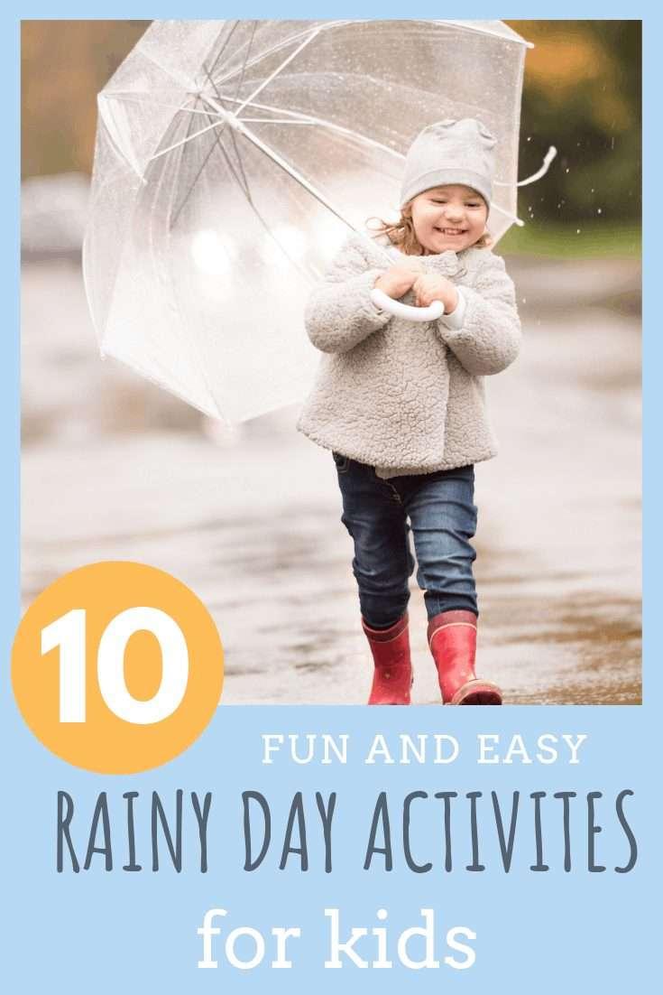 little girl walking in the rain with umbrella