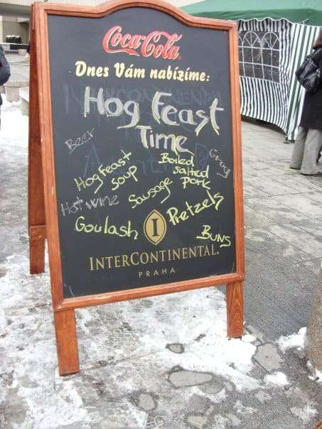 Sign for a Hog Feast in Prague