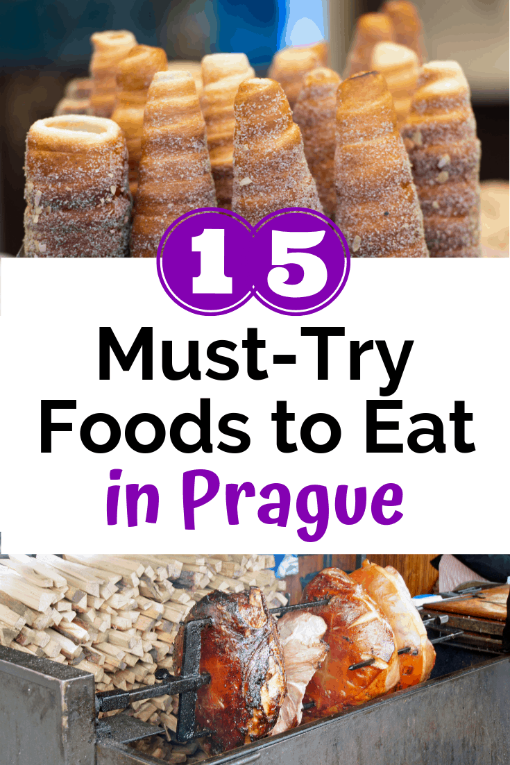 Foods in prague like pastry and sausage, with a text overlay