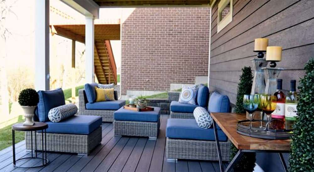 deck furniture with bar