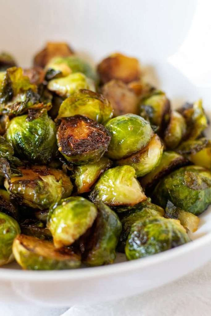 plate with cartelized Brussel sprouts