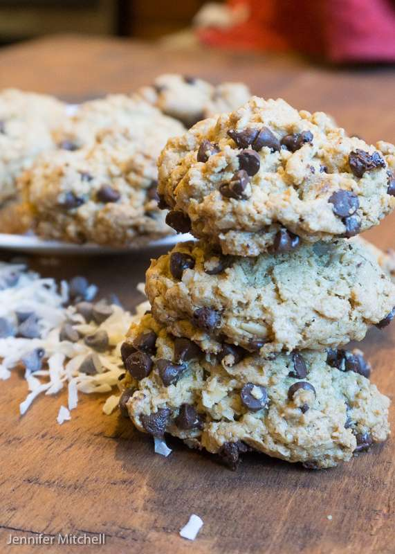 Gluten Free Oatmeal Cookies with Coconut & Chocolate Chips