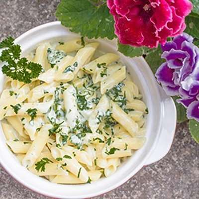Easy Alfredo Penne Pasta with Baby Spinach